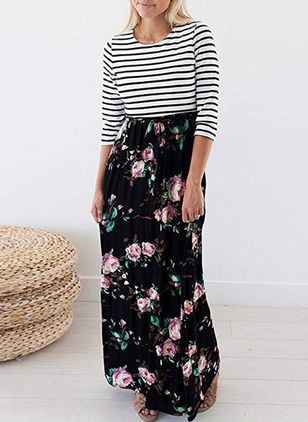 Floral Long Sleeve Maxi Shift Dress