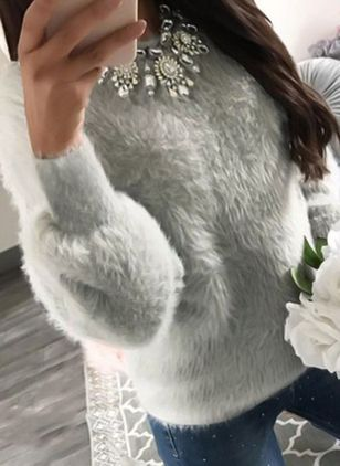 Herfst Winter Damesmode Casual Mohair Blend Fuzzy Blouse Dames Kintted harige trui Tops