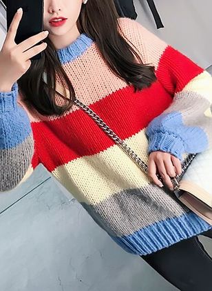 Round Neckline Color Block Loose Regular Hollow Out Shift Sweaters Sweaters