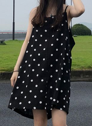Polka Dot Slip Sleeveless Above Knee Shift Dress