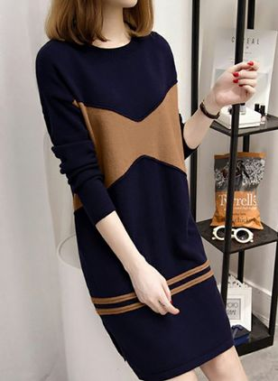 Solid Sweater Long Sleeve Knee-Length Shift Dress