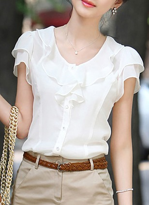 Solid Cute Round Neckline Short Sleeve Blouses