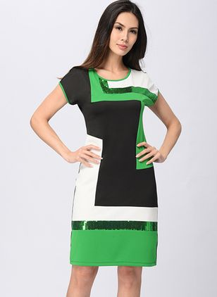 Color Block Tshirt Short Sleeve Knee-Length Sheath Dress