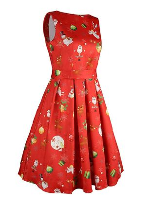 Floral Wrap Sleeveless Midi A-line Dress