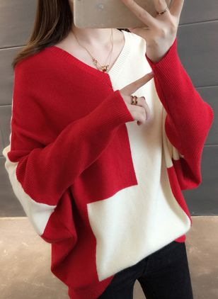 V-Neckline Color Block Loose Regular Shift Sweaters Sweaters
