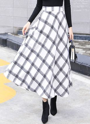 Check Maxi Elegant Ruffles Pockets Skirts