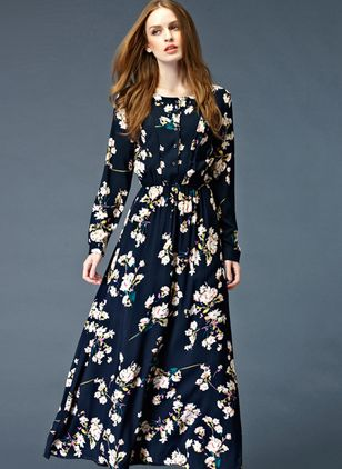 Floral Buttons Long Sleeve Maxi A-line Dress