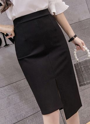 Solid Knee-Length Elegant Skirts