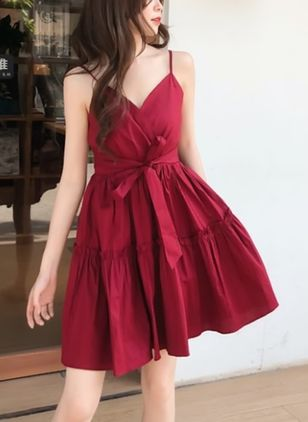 Solid Ruffles Slip Above Knee Shift Dress