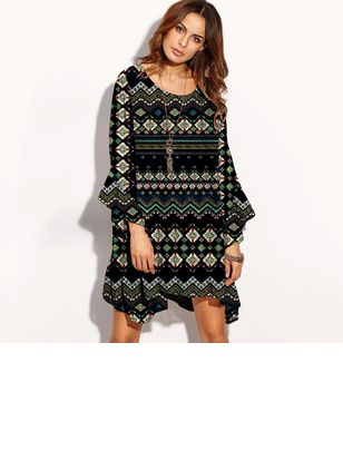 Floral Drop waist Long Sleeve Above Knee Shift Dress
