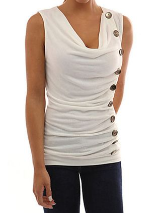 Solid Sexy Draped Neckline Sleeveless Blouses