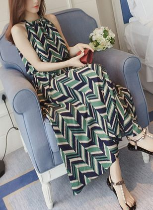 Geometric Sleeveless Maxi Shift Dress