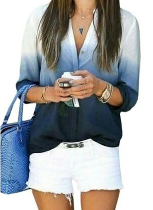 Color Block Casual Collar Half Sleeve Blouses