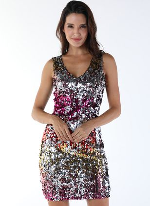 Color Block Sequins Tank Mini Sheath Dress