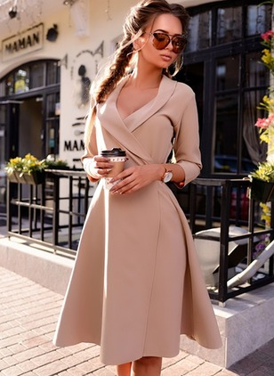 Solid Wrap 3/4 Sleeves Knee-Length A-line Dress