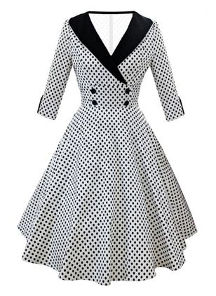 Polka Dot Ruffles 3/4 Sleeves Knee-Length A-line Dress