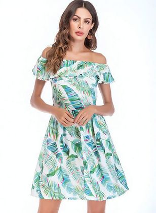 Floral Ruffles Cap Sleeve Above Knee A-line Dress