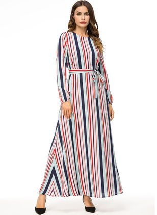 Stripe Wrap Long Sleeve Maxi A-line Dress