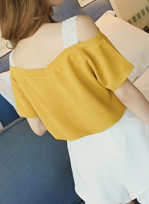 Color Block Cute Others Short Sleeve Blouses