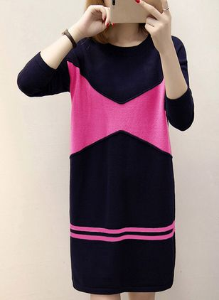 Color Block Long Sleeve Above Knee Shift Dress