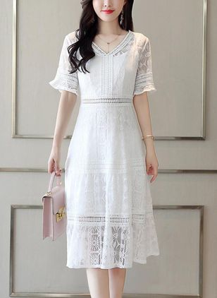 Solid Ruffles Half Sleeve Knee-Length Shift Dress