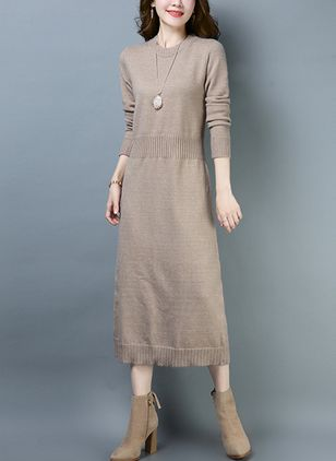 Solid Sweater Long Sleeve Maxi Shift Dress