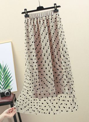 Solid Mid-Calf Casual Lace Skirts