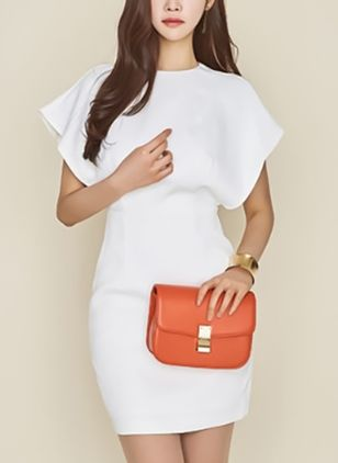 Solid Pencil Cap Sleeve Above Knee Sheath Dress