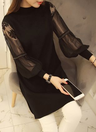 Solid Long Sleeve Above Knee Shift Dress