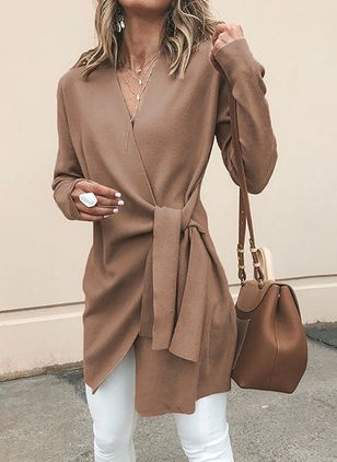 Solid Wrap Long Sleeve Above Knee X-line Dress