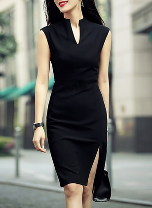 Solid Sleeveless Knee-Length Sheath Dress