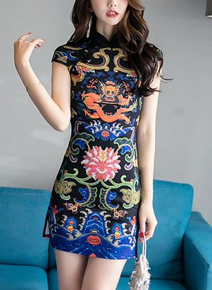 Character Pencil Short Sleeve Above Knee Sheath Dress