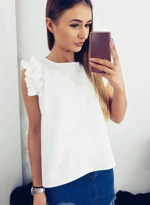 Solid Cute Round Neckline Sleeveless Blouses
