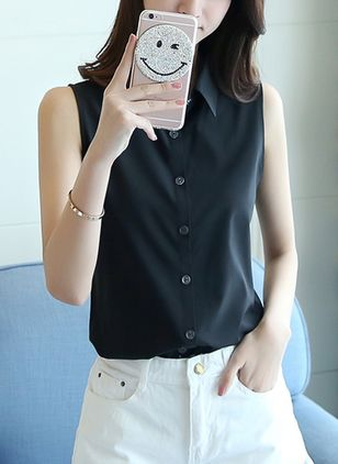 Solid Elegant Collar Sleeveless Blouses