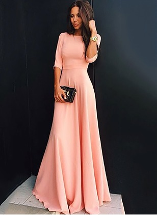 Solid Ruffles Half Sleeve Maxi A-line Dress