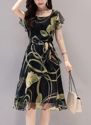 Floral Skater Short Sleeve Knee-Length A-line Dress