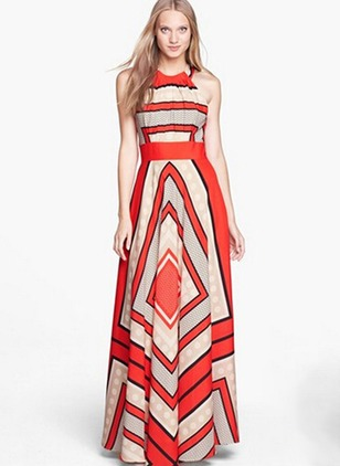 Geometric Ruffles Tank Maxi A-line Dress