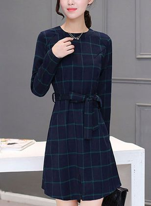 Plaid Wrap Long Sleeve Above Knee Shift Dress