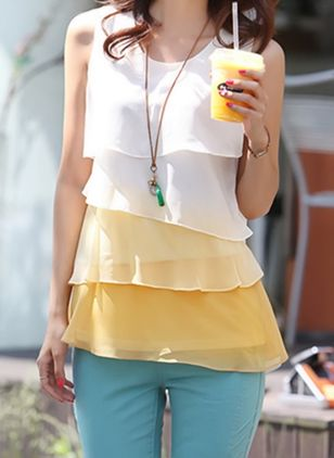 Color Block Casual Round Neckline Sleeveless Blouses