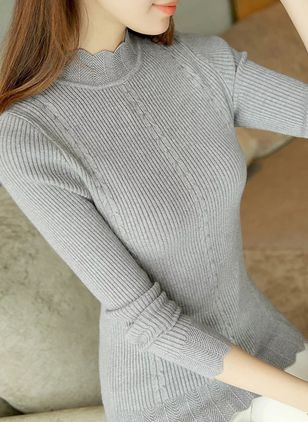 High Neckline Solid Tight Regular None Sweaters
