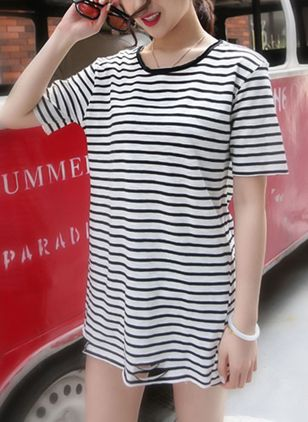 Stripe Short Sleeve Mini Shift Dress