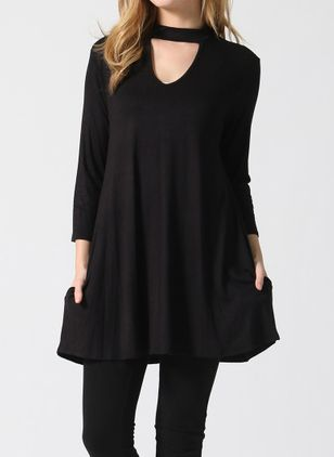 Solid Long Sleeve Mini Shift Dress