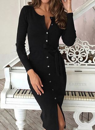 Solid Pencil Long Sleeve Midi Bodycon Dress