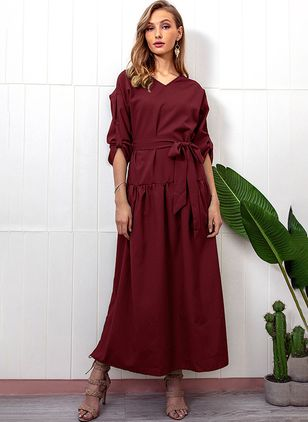 Solid Wrap Long Sleeve Maxi Dress