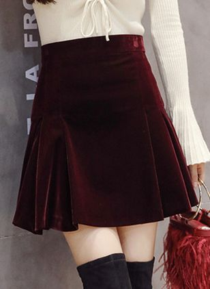 Solid Above Knee Casual Ruffles Skirts