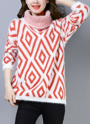 High Neckline Geometric Loose Regular Shift Sweaters Sweaters