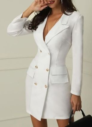 Senhora do escritório Lapela V Neck Double Breasted Blazer manga comprida Bodycon Mini Dress