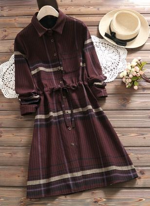 Solid Buttons Shirt Knee-Length Shift Dress