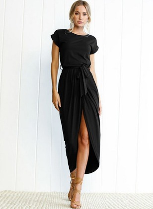 Solid Wrap Short Sleeve High Low Sheath Dress