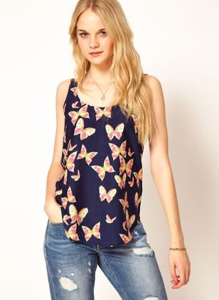 Animal Casual Camisole Neckline Sleeveless Blouses